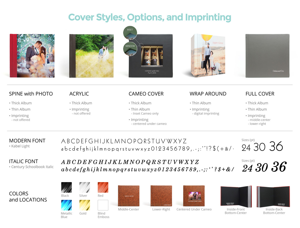 Photo Albums Direct Product Info Sheets - Cover Styles, Options, and Imprinting