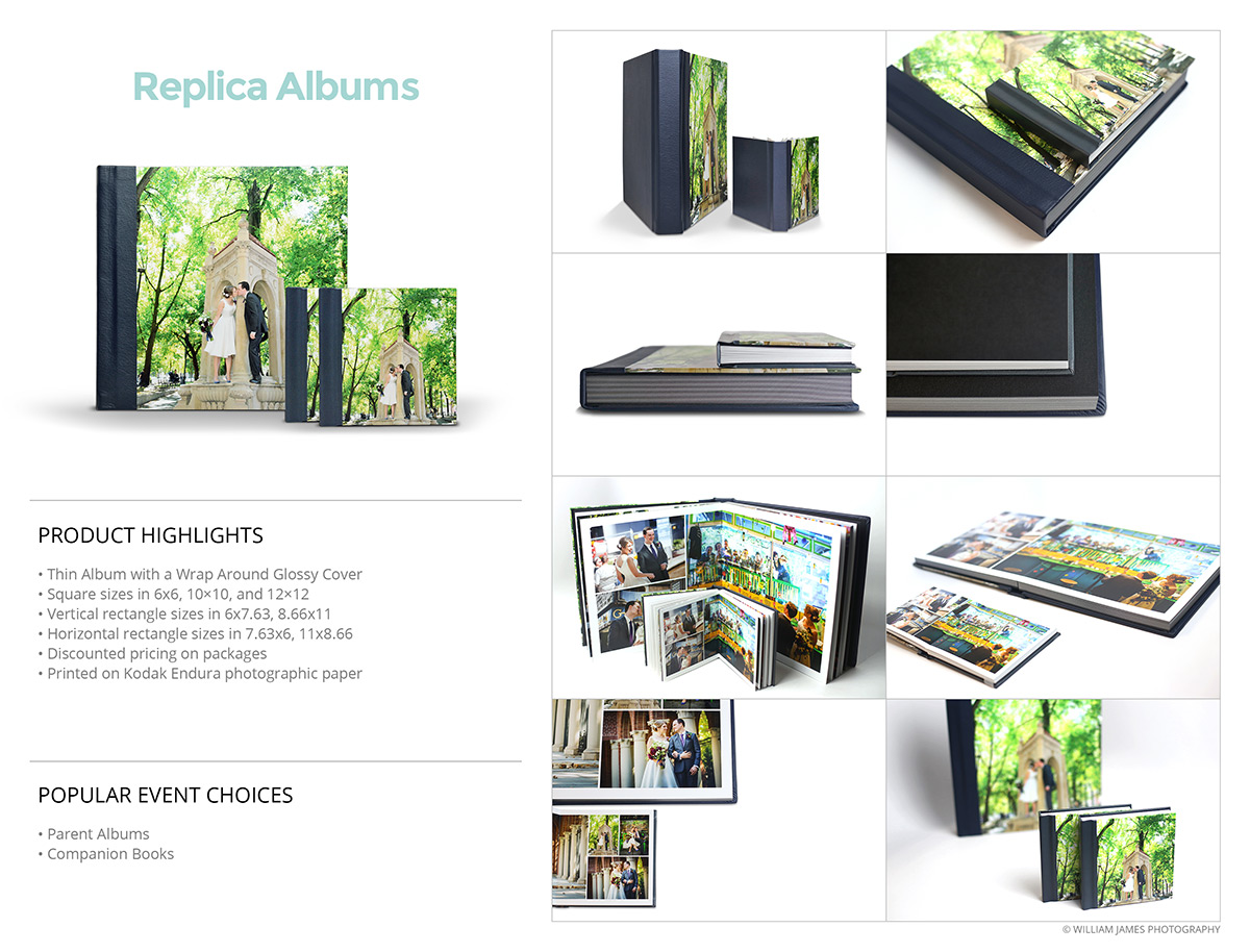 Photo Albums Direct Product Info Sheets - Replica Albums