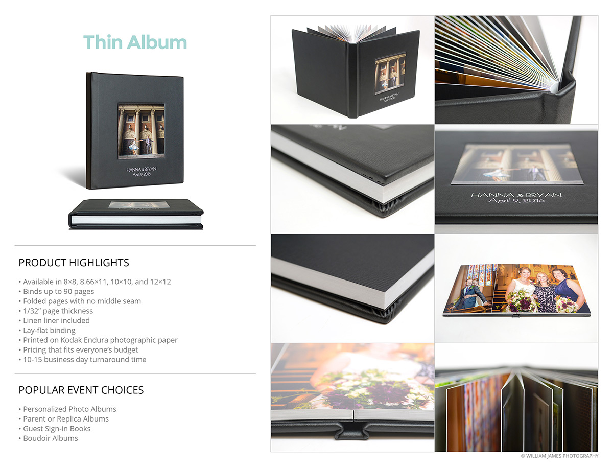 Photo Albums Direct Product Info Sheets - Thin Album